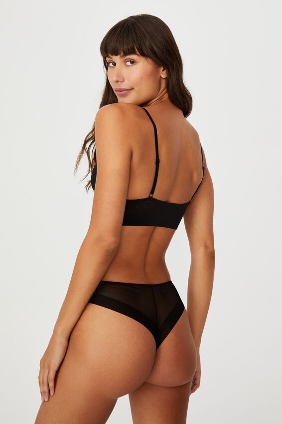 Invisible Mesh Longline Bralette With Cups, BLACK