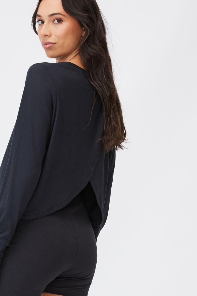 Maternity Cross Back Long Sleeve Top, BLACK