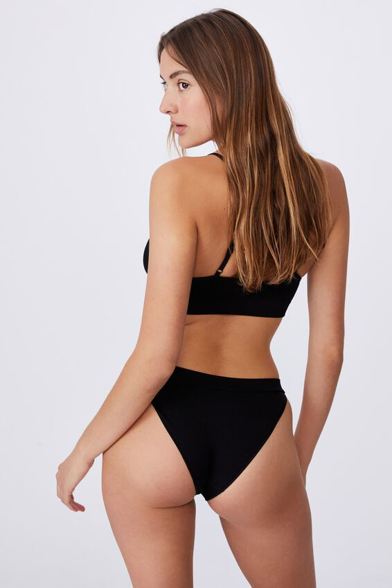 Seamfree Tanga Bikini, BLACK