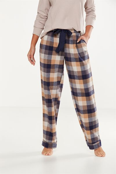 Non Cuffed Flannel Pant, MAPLE CHECK