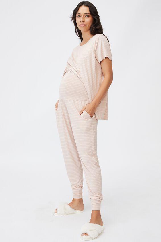 Sleep Recovery Maternity Pant, MUSHROOM PINSTRIPE