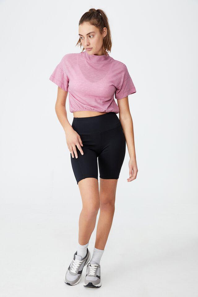 Lifestyle Mock Neck T-Shirt, ORCHID SMOKE MARLE