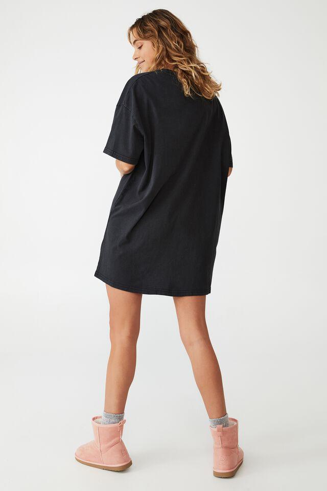 Organic Cotton 90S T-Shirt Nightie, LCN UNI CASPER/HAUNTED HOUSE WASHED BLACK