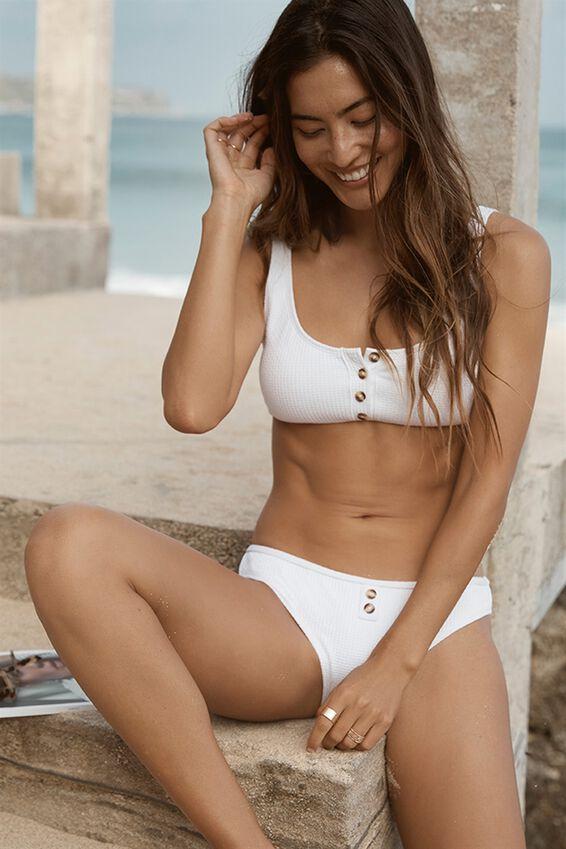 Luna Button Up Scoop Bikini Top, WHITE
