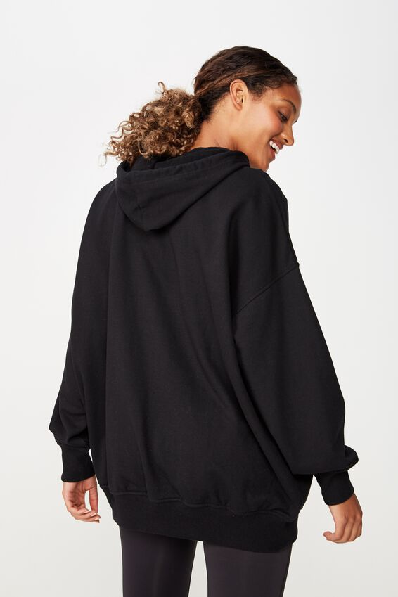Oversized Longline Hoodie, BLACK