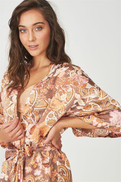 Kimono Gown, ADORNED PAISLEY/ESPRESSO