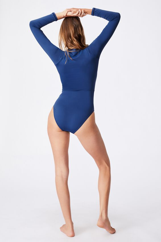 Zip Front Long Sleeve One Piece Full Mm, MARINA BLUE