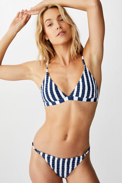 Fixed Triangle Bikini Top, MARINA BLUE STRIPE SHIRRED