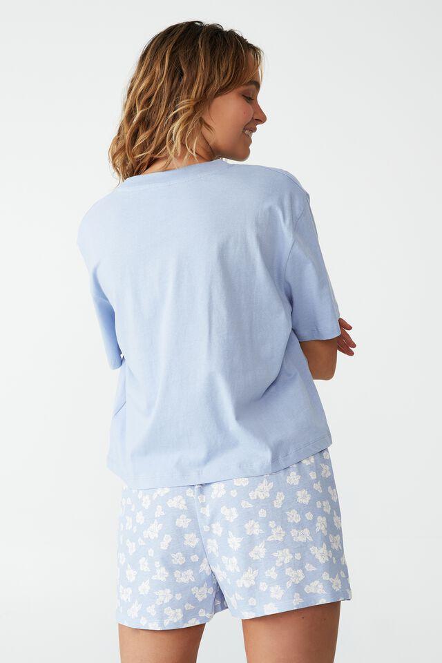 Jersey Chopped Baby T-Shirt, HAWAIIAN HIBISCUS BLUE