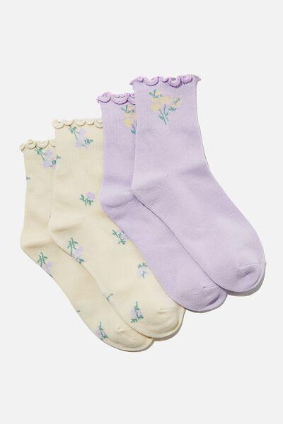 2Pk Frill Hem Sock, BUTTERMILK/CHALKY LAVENDAR