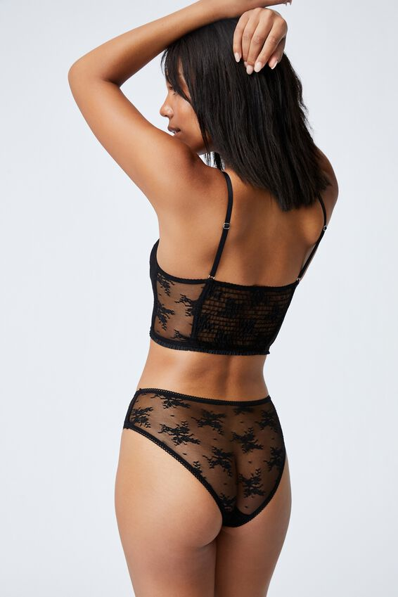 Cherry Blossom Longline Bralette With Cups, BLACK