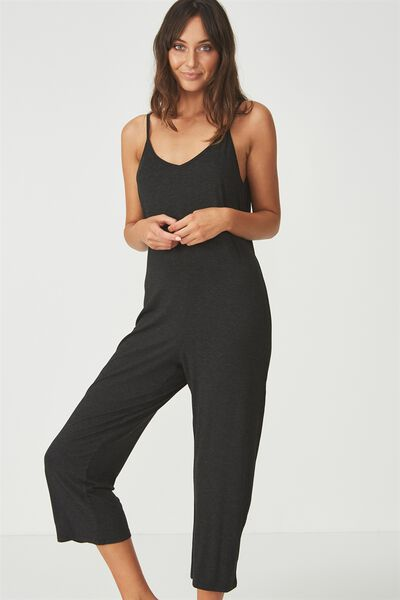 Sleep Recovery Strappy Jumpsuit, BLACK MARLE