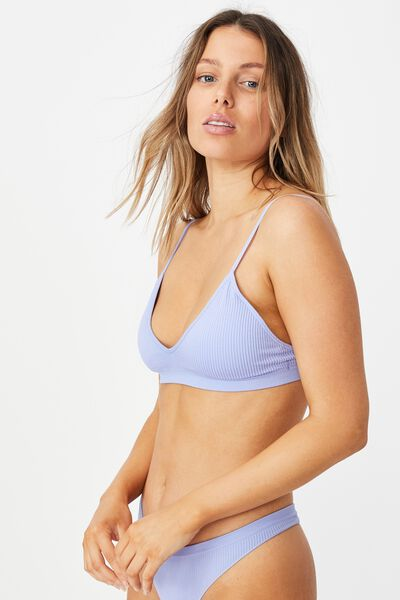 Seamfree Triangle Bralette With Cups, CORNFLOWER LILAC