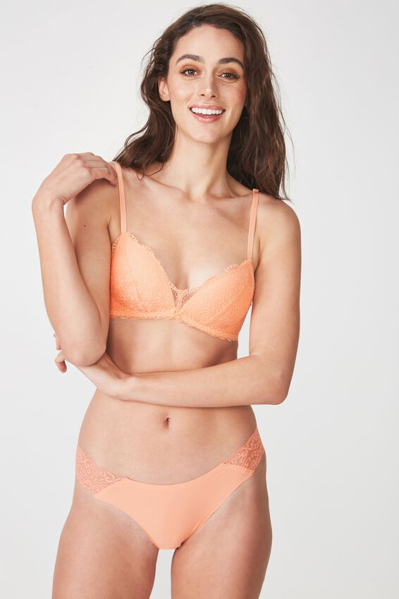 Jojo Wire Free Lift Bra, PEACHY