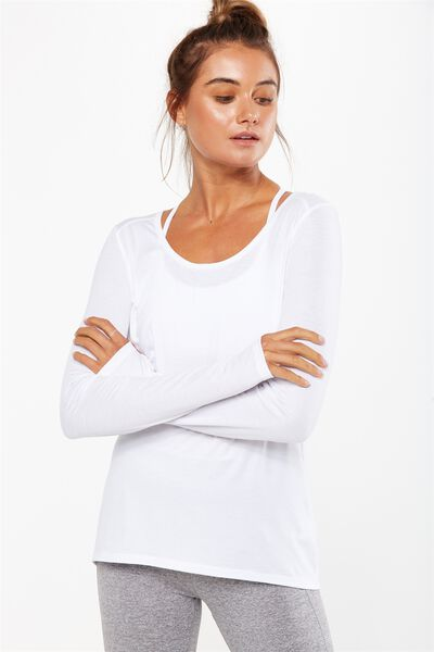 Long Sleeve Sports Top, WHITE
