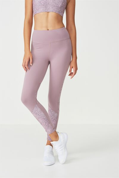 Tempo Mesh Panelled Tight, SPRAY SPOT THISTLE