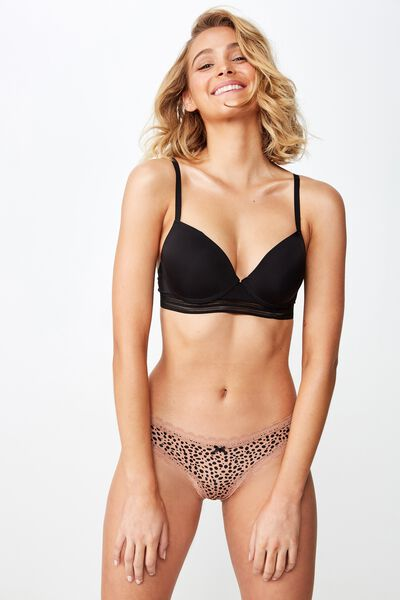 Smooth Lace Trim Bikini Brief, SPECKLE LEOPARD