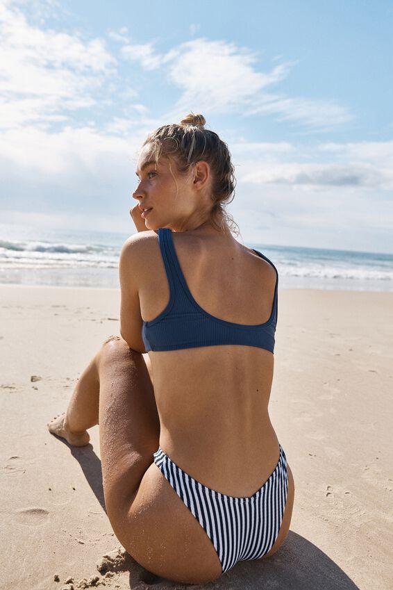 Knot Front Crop Bikini Top, MARINA BLUE RIB