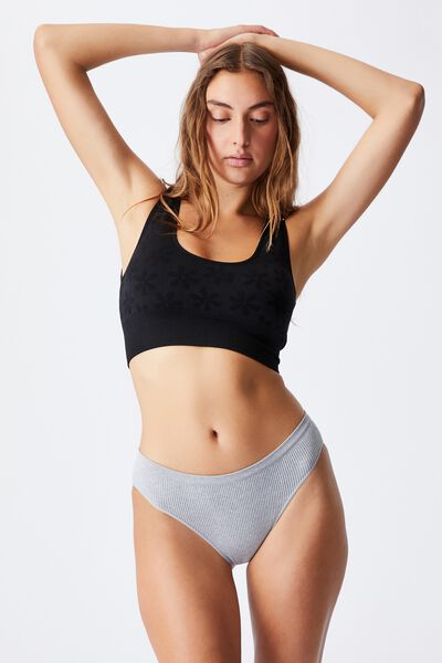 Seamfree Reversible Crop With Cups, BLACK DAISY JACQUARD