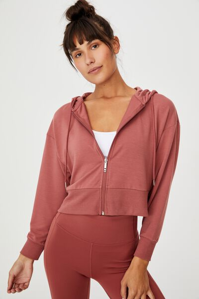 The Ultra Soft Zip Through Hoodie, CHESTNUT