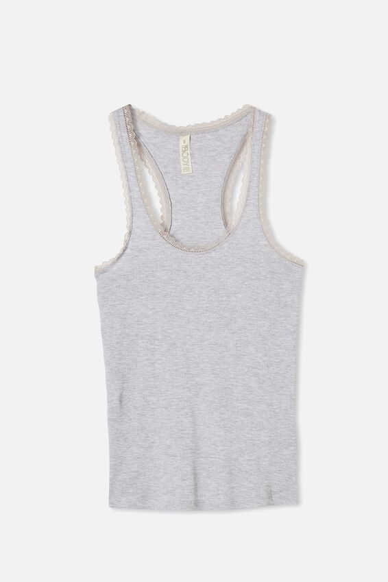 Lace Racer Back Tank, SOFT GRY MARLE