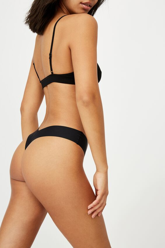 The Invisible G String Brief, BLACK