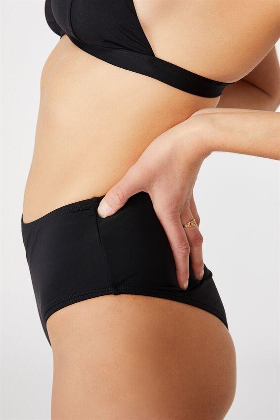 Highwaisted Full Bikini Bottom, BLACK