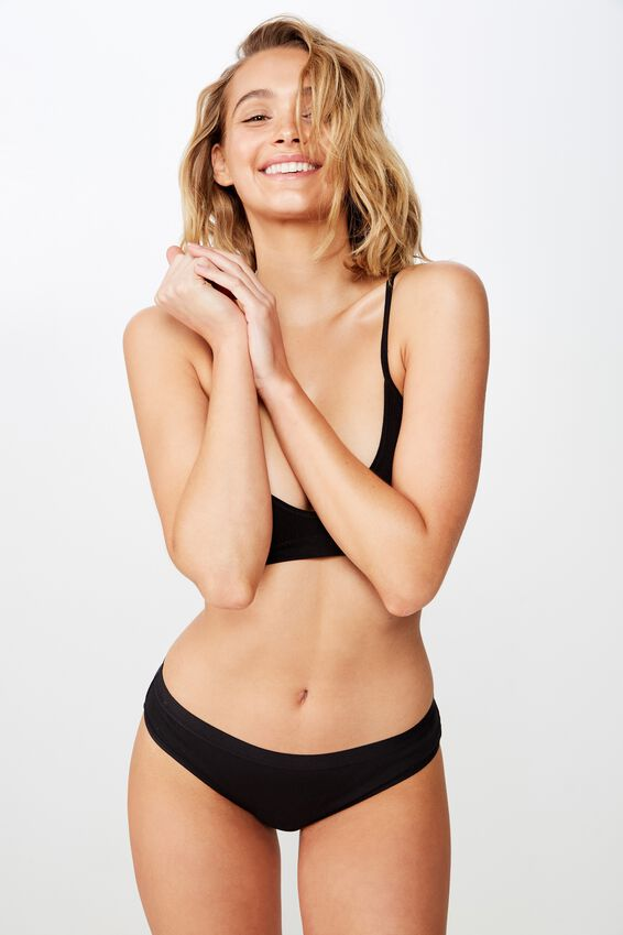 Cotton Rib Bikini Brief, BLACK