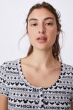 Henley Waffle Sleep T-Shirt, LCN DIS MICKEY & MINNIE FAIR ISLE NAVY