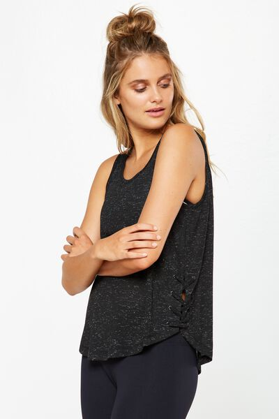 Lace Up Tank Top, BLACK FLECK