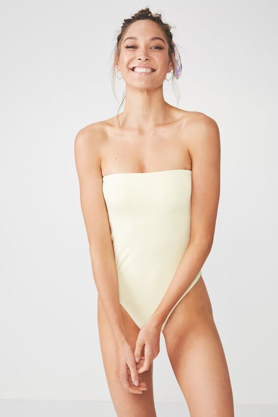 Ana Stripe Strapless One Piece Cheeky, LEMON STRIPE