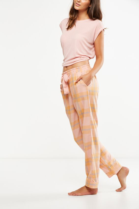 Non Cuffed Flannel Pant, WISTFUL CHECK