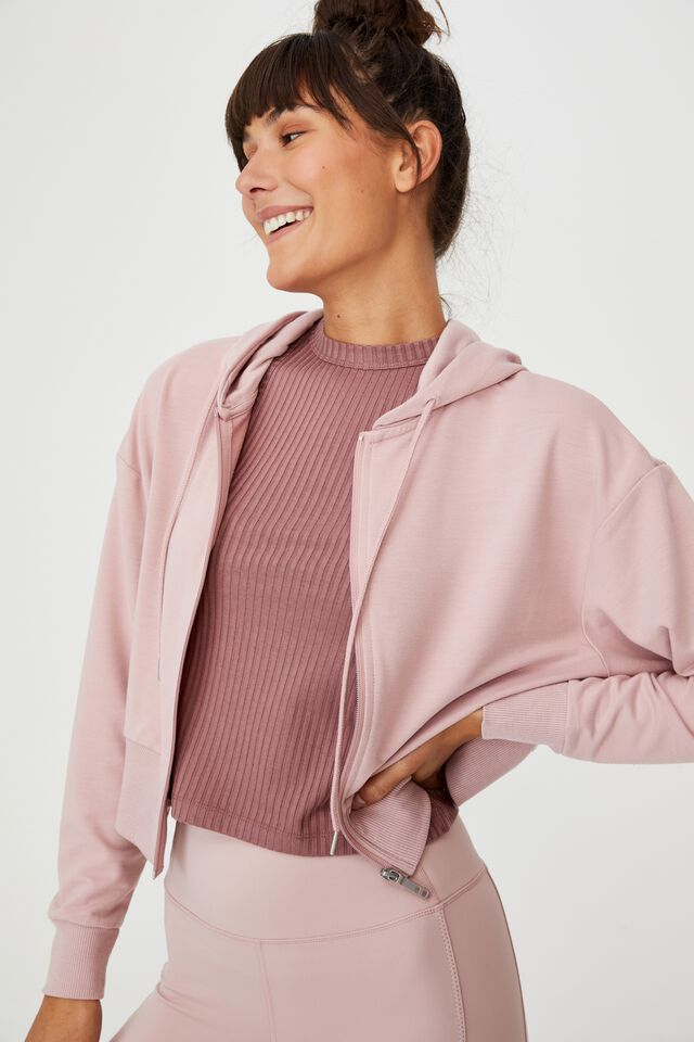 The Ultra Soft Zip Through Hoodie, ALMOND PINK