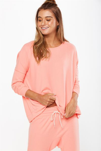 Super Soft  Lounge Top, CORAL GLOW MARLE
