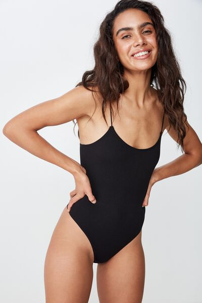 Seamfree Scoop Bodysuit, BLACK