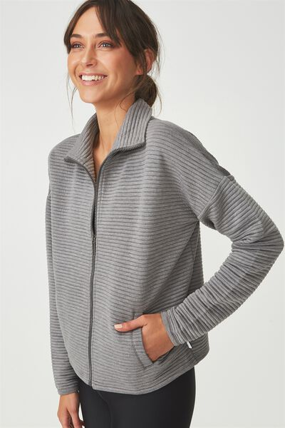 Ribbed Jacket, MID GREY MARLE