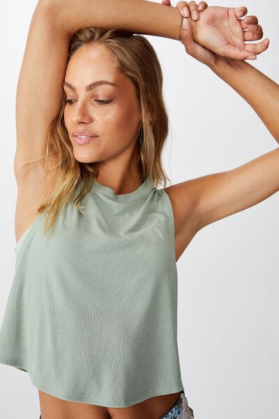 Cross Back Rib Tank Top, ALOE RIB