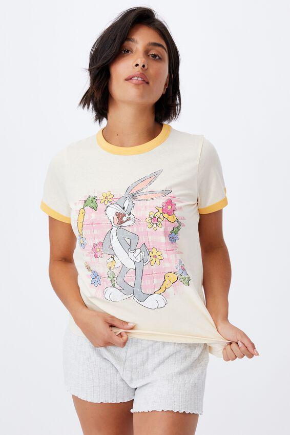 Ringer Sleep T-Shirt, LCN WB BUGS BUNNY FLOWERS