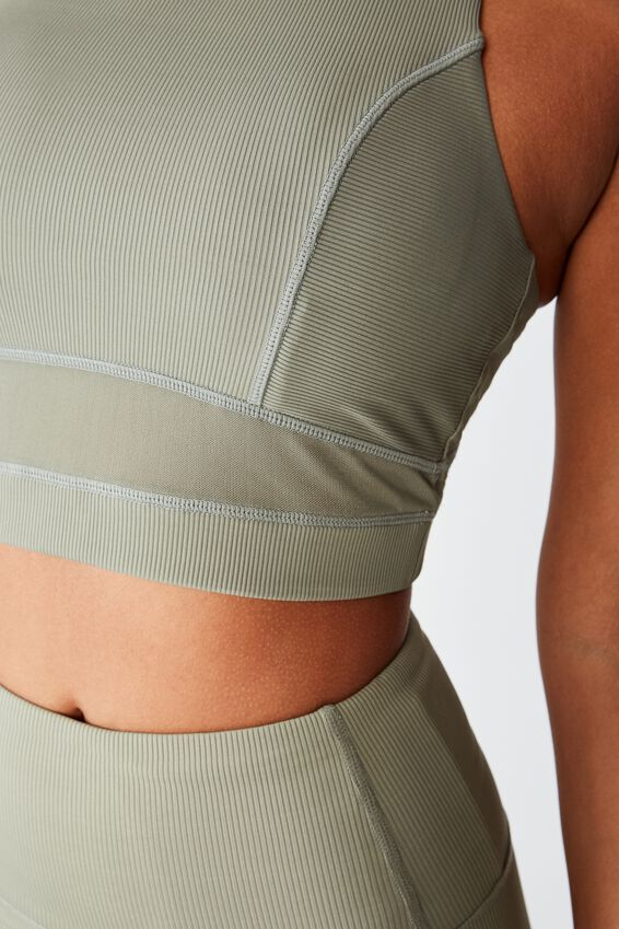 Workout Rib Mesh Crop, STEELY SHADOW