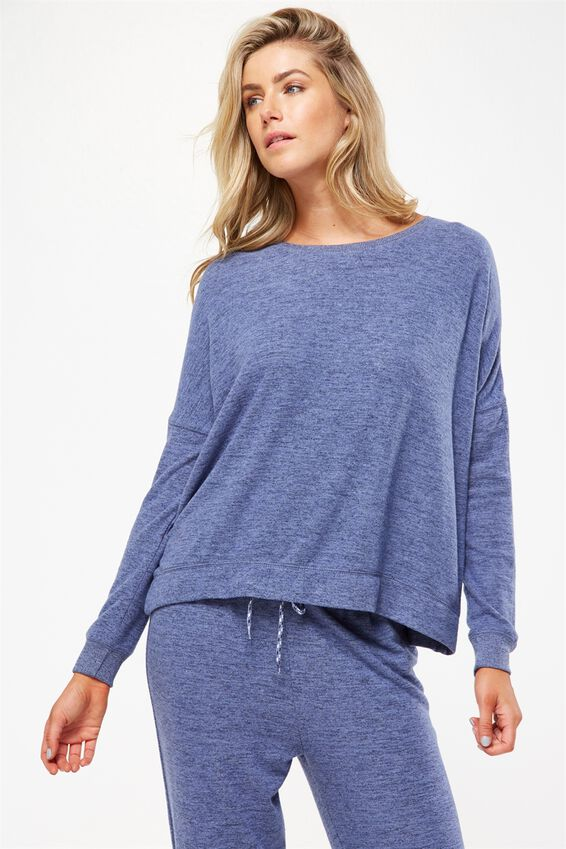 Super Soft  Lounge Top, FROSTED BLUE MARLE