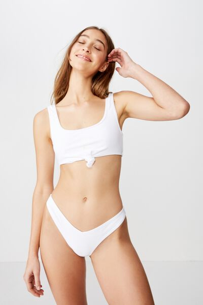 High Side Brazilian Bikini Bottom, WHITE RIB 20