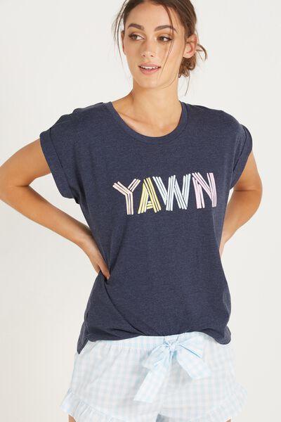 Match Back Short Sleeve Tshirt, MIDNIGHT MARLE/YAWN