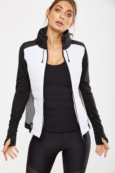 Active Slimline Puffer Jacket, WHITE/BLACK