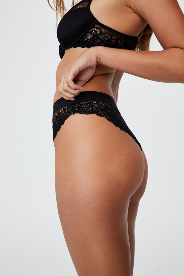 Ainsley Lace High Cut Brasiliano Brief, BLACK
