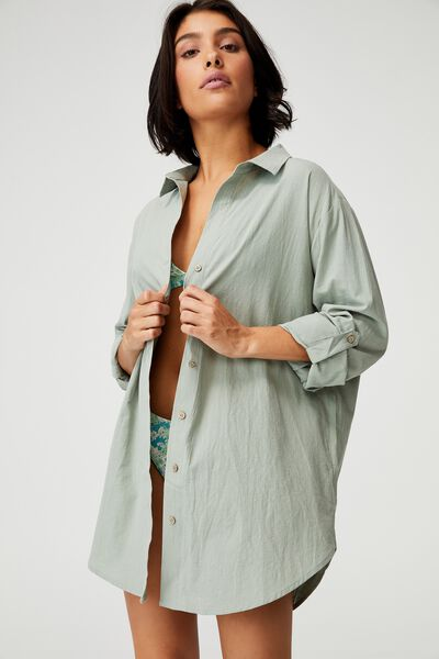 Oversized Beach Shirt, KHAKI