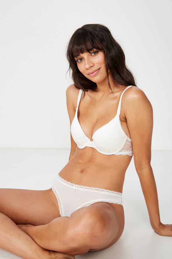 Smooth Lace Trim Brasiliano Brief, CREAM