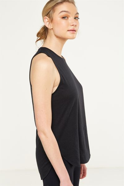 Scooped Flow Tank Top, BLACK