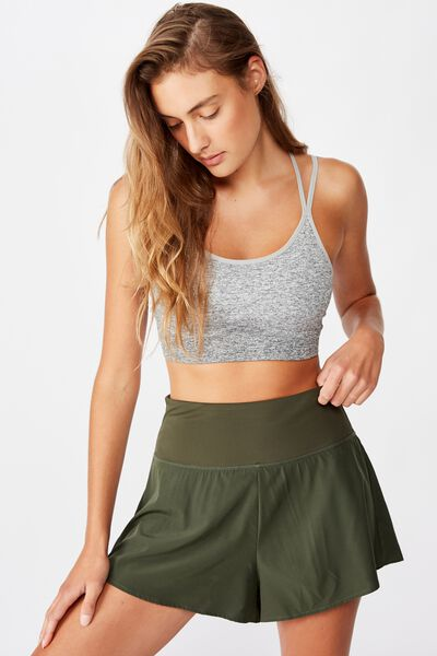 Highwaist Running Short, KHAKI