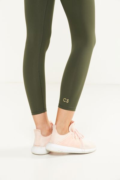 Personalised Core 7/8 Tight, KHAKI/GOLD