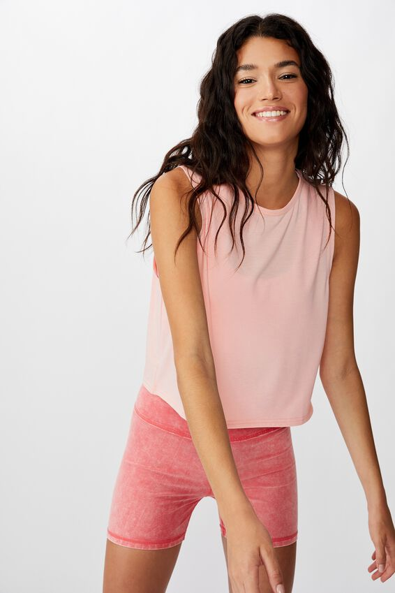 Cropped Active Muscle Tank, CAMEO PINK MARLE